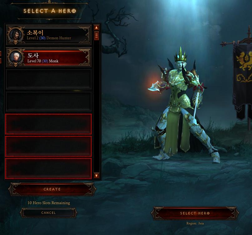 Diablo 3 PC Asia-D3 ROS (1 Heroes)Level 70,Paragon / Billion